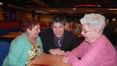 Parliamo: Jonathan Downie is given a dose of the Glasgow dialect by Greta Storrie (left) and Mary McColl