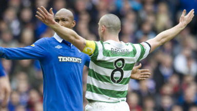 Scott Brown saw yellow for taunting Rangers' El-Hadji Diouf after his equalising goal in Sunday's Old Firm derby.
