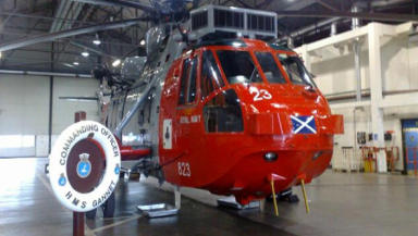 Rescue: one of the helicopters at HMS Gannet