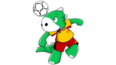 Unofficial Football World Championship mascot Hughie.