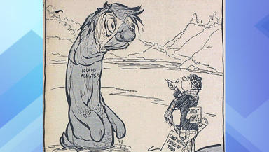 Nessie Debate: Newspaper cartoon depicting Loch Ness monster conversation.