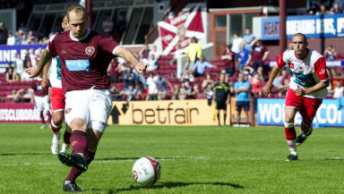 Jamie Hamill scored hs first goal for Hearts against Royal Antwerp