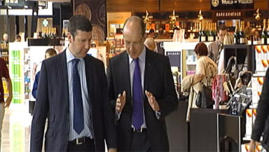 Airport: John Swinney toured the new facilities with outgoing MD Gordon Dewar.