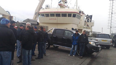 Mackerel Wars: Peterhead fishermen set up blockade to prevent foreign vessel landing catch.
