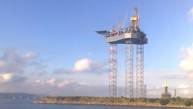 Oil platform: Massive rig towers over Dundee's waterfront