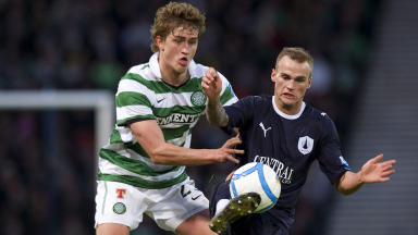 Celtic's Thomas Rogne (left) and Kallum Higginbotham in action
