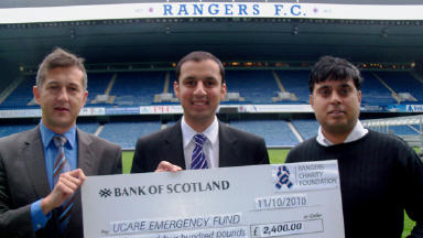 Appeal: (from left) Connal Cochrane, Anas Sarwar and Mohammed Rajak pictured with the cheque.