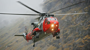 Rescued: One man airlifted to hospital after falling in river.