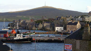 Lerwick harbour: The pair were checked over by paramedics.