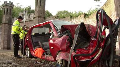 Collision: The man died at the scene of the crash at the entrance to the castle.