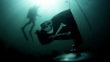 Underwater: Tank was sunk to the bottom of the sea.