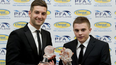 Celtic team-mates Charlie Mulgrew and James Forrest with their 2012 PFA Scotland awards/