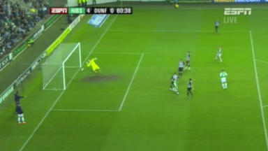 ESPN pictures show Paul Hanlon's goal for Hibs did not cross the line at Easter Road against Dunfermline