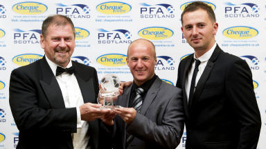 Football winners: Ally Dawson (left), Willie Hamilton (centre) and David Duke at the PFA Player of the Year awards.