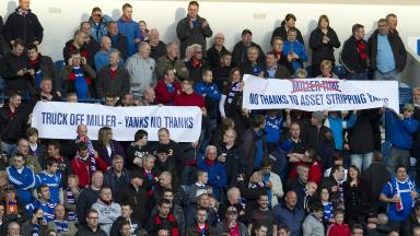 Bill Miller banner at Rangers game.