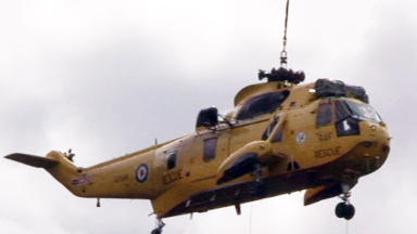 RAF Sea King being rescued from a mountain. DO NOT USE AS GENERIC