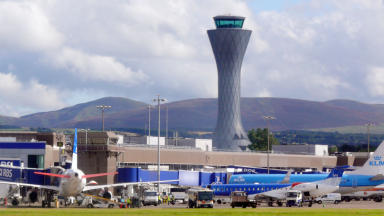 Edinburgh Airport aircraft and control tower