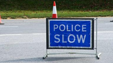 Police accident road slow scene sign generic. Quality image.