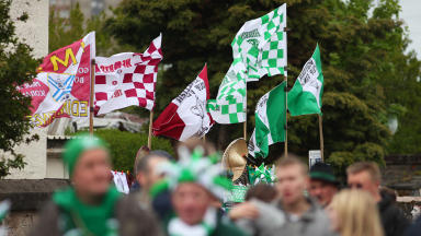Hibs and Heart supporters ahead of Scottish Cup Final
