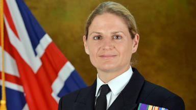 Sarah West, first woman in the Royal Navy's history to be selected to command a major warship.  She commanda HMS Portland. Quality image