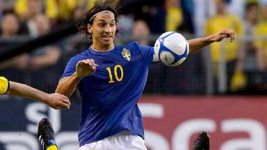 Zlatan Ibrahimovic head and shoulders for Sweden.