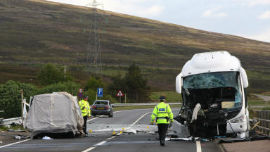 The wreckage of the coach and van in the fatal road crash on the A9 on June 8 2012. Quality.