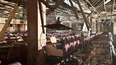 """Ruined Underground Bingo Hall at Red Road Flats - subject of film """"Red Road Underground"""" by Chris Leslie"""