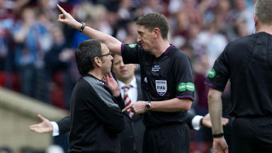 Hibernian boss Pat Fenlon is sent to the stand by referee Craig Thomson during the 2012 Scottish Cup final.