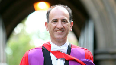 Writer and comedian Armando Iannucci receiving an honorary degree from Glasgow University in 2011.