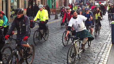 Thumbs up: Kim Harding helped organise the Pedal on Parliament campaign