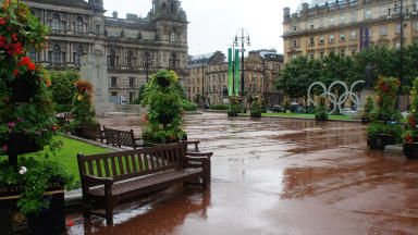 George Square rain tarmac olympic rings