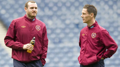 Craig Beattie and Ian Black (right) with Hearts at Ibrox in 2012.