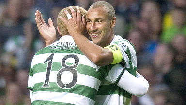 Henrik Larsson and Neil Lennon during John Kennedy's testimonial in 2011.