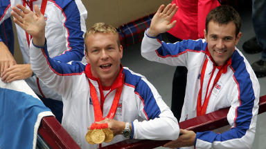 Chris Hoy and Ross Edgar at Beijing homecoming.