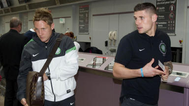 Celtic pair Gary Hooper (right) and Kris Commons at Glasgow Airport in August 2012.