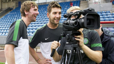 Paddy McCourt (left) and Charlie Mulgrew honed their camera skills ahead of the Helsingborgs away leg.