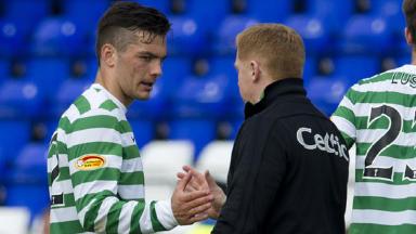 Celtic striker Tony Watt (left) is congratulated at full-time by manager Neil Lennon.