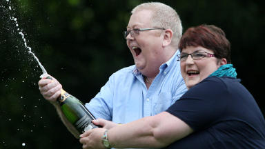 Lottery winners: Christine Weir with her husband Colin.
