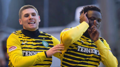 Celtic's Gary Hooper and Victor Wanyama.