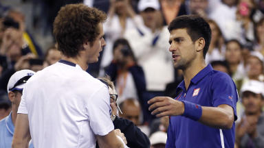Andy Murray (left) and Novak Djokovic embrace after the 2012 US Open final.