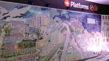 Unveiled: Alasdair Gray's new mural at Hillhead subway station.