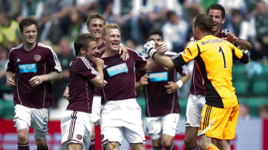 Hearts players celebrate during the Edinburgh derby.