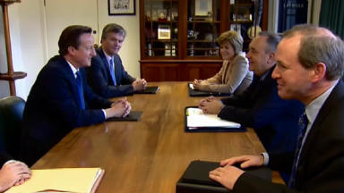David Cameron and Alex Salmond meet on referendum deal. Independence.