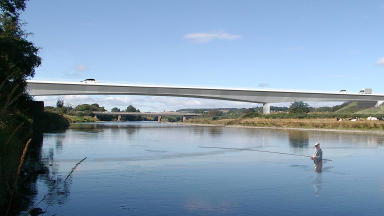 Artists impression of the Aberdeen bypass  over the River Dee.