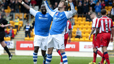 Murray Davidson celebrates after finding the net against Kilmarnock.