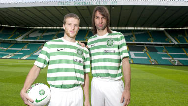 Celtic's 2012/13 season kit sponsored by Tennent's modelled by Adam Matthews and Georgios Samaras.