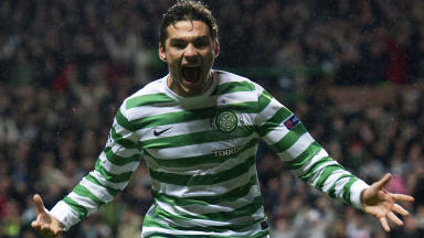 Celtic's Tony Watt celebrates after scoring what turned out to be the winning goal