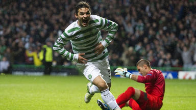 Celtic hitkid Tony Watt charges off to celebrate his goal which, in the end, won the match