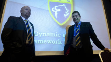 SFL chief executive David Longmuir (right) and president Jim Ballantyne hold discussions on league reconstruction