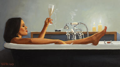 The painting by Jack Vettriano, Night-Time Rituals II, was auctioned for the STV Appeal.